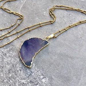 💜Raw amethyst slice moon pendant necklace💜